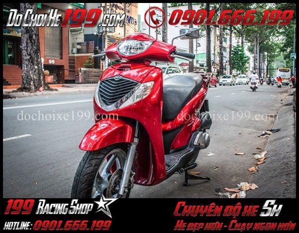 Sơn đổi màu xe Sh 2008 sang màu đỏ tươi sáng bóng tại Shop 199 TpHCM