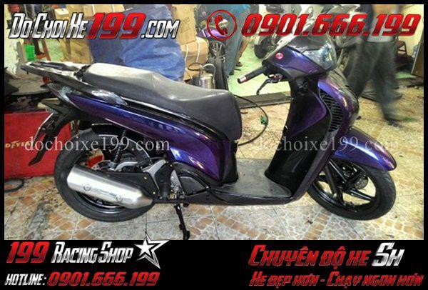 Sơn đổi màu xe Sh 2010 sang màu tím thủy chung cực đẹp tại Shop 199